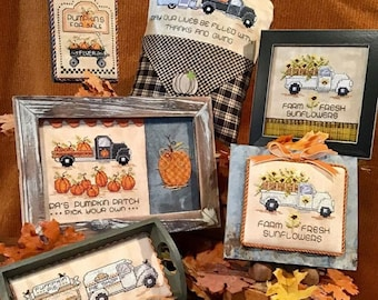 Counted Cross Stitch Pattern, Home for the Harvest, Fall Decor, Ornaments, Pick Up, Pumpkins, Sunflowers, Sue Hillis Designs, PATTERN ONLY