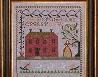 Counted Cross Stitch Pattern, Mary E Allen 1836 Sampler, Alphabet Sampler, Motifs, Saltbox House, Praiseworthy Stitches, PATTERN ONLY