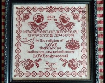 Counted Cross Stitch Pattern, Wisdom of Love, Valentine Decor, Country Rustic, Sampler, Dove, Religious, Twin Peak Primitives, PATTERN ONLY