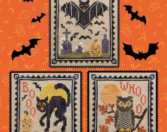 Counted Cross Stitch Pattern, Halloween Critter Trio, Halloween Decor, Black Cat, Bat, Owl, Ghosts, Waxing Moon Designs, PATTERN ONLY