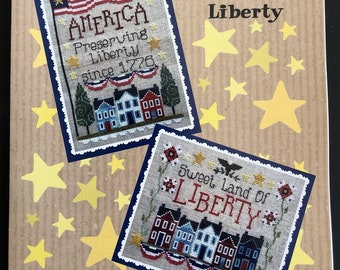 Counted Cross Stitch Pattern, Preserving Liberty, Patriotic Decor, Americana, American Flag, Freedom, Waxing Moon Designs, PATTERN ONLY