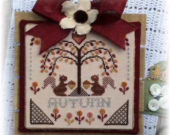 Counted Cross Stitch, Sheltering Tree, Autumn, Squirrels, Willow Tree, Autumn Decor, Farmhouse Decor, Annie Beez Folk Art, PATTERN ONLY