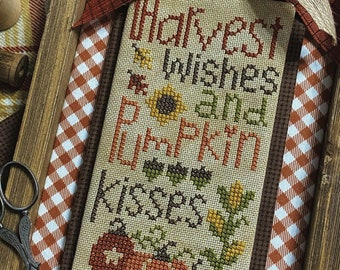 Counted Cross Stitch, Pumpkin Kisses, Fall Decor, Thanksgiving, Autumn Decor, Lindsey Weight, Primrose Cottage Stitches