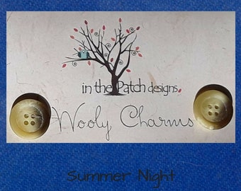 Wool, Wooly Charms, Felted Wool, Wool Charm Packs, Summer Night, Overdyed Wool, Wool Applique, Herringbone Wool, In the Patch Designs