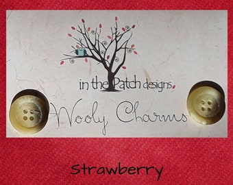Wool, Wooly Charms, Felted Wool, Wool Charm Packs, Strawberry, Overdyed Wool, Wool Applique, Herringbone Wool, In the Patch Designs