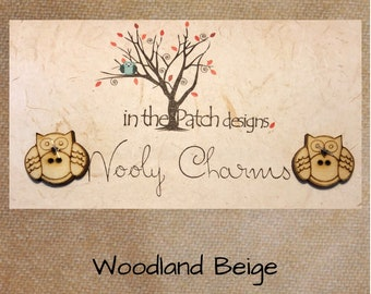 Wool, Woodland Beige, Wooly Charms, Felted Wool, Wool Charm Packs, Overdyed Wool, Wool Applique, Herringbone Wool, In the Patch Designs