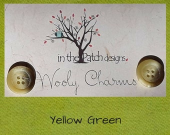Wool, Wooly Charms, Felted Wool, Wool Charm Packs, Yellow Green, Overdyed Wool, Wool Applique, Herringbone Wool, In the Patch Designs