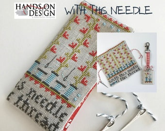 PRE-Order, Cross Stitch Pattern, With This Needle, Needle Case, Spool Fob, Needle Card Case, Farmhouse Decor, Hands On Design, PATTERN ONLY