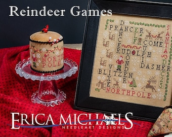 Counted Cross Stitch Pattern, Reindeer Games, Christmas Berries, Christmas Decor, Ornaments, Erica Michaels, PATTERN ONLY