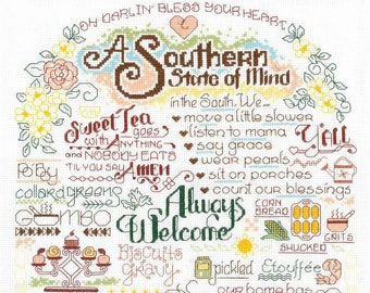 Counted Cross Stitch Pattern, Let's Visit the South, Cross Stitch, Sweet Tea, Grits, Gumbo, Imaginating, Ursula Michael, PATTERN ONLY