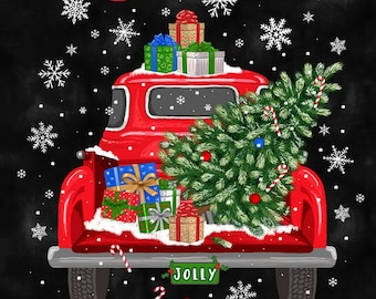 Quilt Fabric, Let It Snow, Red Pick Up, Red Truck, Christmas Tree, Christmas Fabric, Fabric Panel, Holiday, Timeless Treasures