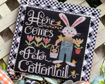 PRE-Order, Counted Cross Stitch Pattern, Here Comes Peter Cottontail, Easter Bunny, Tulips, Stitching with the Housewives, PATTERN ONLY