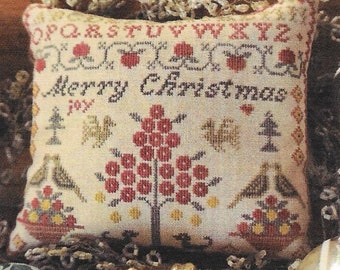 Cross Stitch Pattern, A Merry Christmas Sampler, Cross Stitch Sampler, Christmas Decor, Ornament, Primitive Decor, La-D-Da, PATTERN ONLY