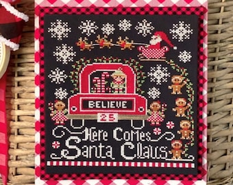 Cross Stitch Pattern, Here Come Santa Claus, Christmas Decor, Santa Claus, Reindeer, Stitching with the Housewives, PATTERN ONLY