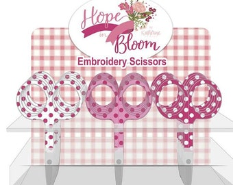 """Embroidery Scissors, Hope in Bloom, Scissors, 3.75"""" Scissors, Heirloom Embroidery Scissors, Riley Blake Designs, Breast Cancer Research"""
