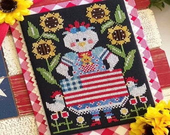 Counted Cross Stitch Pattern, Red White & Bantam, Patriotic, Farmhouse Decor, Stitching with the Housewives, PATTERN ONLY
