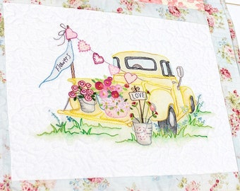 Embroidery Pattern, Vintage Love, Spring Decor, Summer Decor, Valentines Day, Pick Up, Cottage Decor, Crabapple Hill Studio, PATTERN ONLY