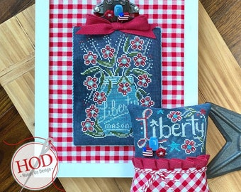 Cross Stitch Pattern, Chalk Full, Liberty, Chalk Artwork, Patriotic, Mason Jar, Summer Decor, Americana, Hands On Design, PATTERN ONLY