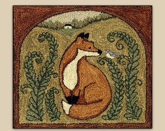 Punch Needle Pattern, Fox & Friend, Woodland Fox, Primitive Decor, Farmhouse, Teresa Kogut, Punch Needle Embroidery, PATTERN ONLY