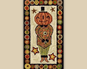 Punch Needle Pattern, Mr Green Jeans, Scarecrow, Pumpkin, Fall Decor, Halloween Decor, Punch Needle Embroidery, Teresa Kogut, PATTERN ONLY