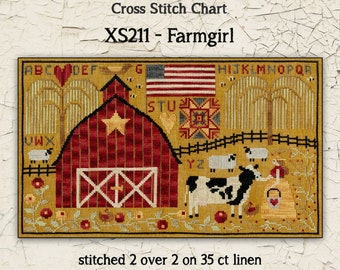 Counted Cross Stitch Pattern, Farmgirl, Farm Scene, Barn, Cow, Sheep, Sampler, Country Decor, Primitive Decor, Teresa Kogut, PATTERN ONLY