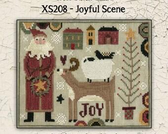 Counted Cross Stitch Pattern, Joyful Scene, Christmas Decor, Santa, Reindeer, Country Decor, Primitive Decor, Teresa Kogut, PATTERN ONLY