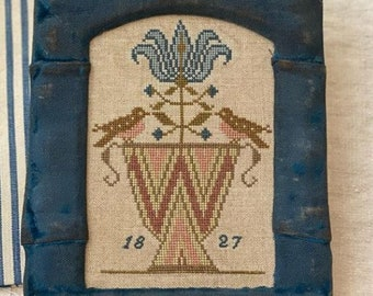 Counted Cross Stitch Pattern, Spotted Finch Sampler, Tulip, Colonial Style Needlework, Primitive Cross Stitch, Stacy Nash, PATTERN ONLY
