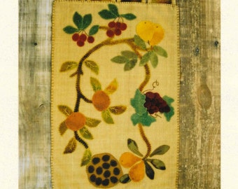 Wool Applique Pattern, Silk Bounty, Wool Applique, Table Runner, Silk Flowers, Home Decor,  Lake View Primitives,  PATTERN ONLY