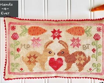 Counted Cross Stitch Pattern, Best Friends Bunnies, Bunnies, Easter Decor, Spring Decor, Luminous Fiber Arts, PATTERN ONLY