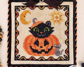 Counted Cross Stitch Pattern, Cat-O-Lantern, Halloween Decor, Fall Decor, Cats, Pumpkin, Luminous Fiber Arts, PATTERN ONLY