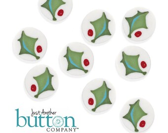 Holly Leaf Beads, Christmas Decor, Christmas Ornament, Bead Embellishment, Secret Santa, Hands on Design, Just Another Button Company