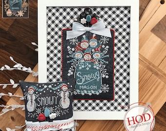 Cross Stitch Pattern, Chalk Full, Snowy, Chalk Artwork, Snowman, Mason Jar, Winter Decor, Snowflakes, Hands On Design, PATTERN ONLY