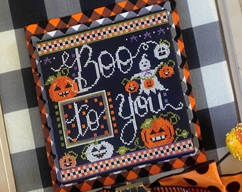 Cross Stitch Pattern, Boo to You, Halloween Decor, Pumpkins, Ghost, Fall Decor, Stitching with the Housewives, PATTERN ONLY