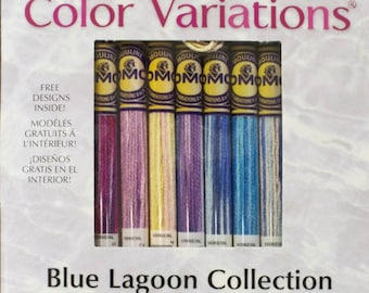 DMC Floss, Color Variations, Blue Lagoon Collection, Embroidery Floss, Punch Needle, Penny Rugs, Sewing Accessory, Multi-Colored Thread