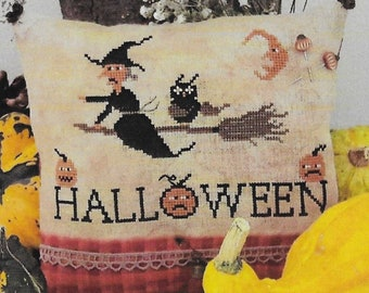 Counted Cross Stitch Pattern, Happy Halloween by Tina, Witch, Broomstick, Owl, Halloween Decor, Fairy Wool in the Wood, PATTERN ONLY