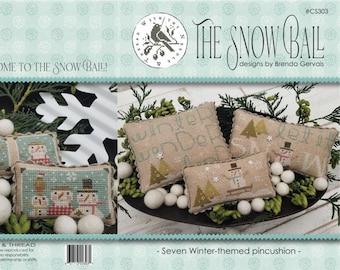 PRE-Order, Cross Stitch Pattern, The Snow Ball, Winter Decor, Hearts, Snowmen, Primitive Decor, Brenda Gervais, PATTERN ONLY