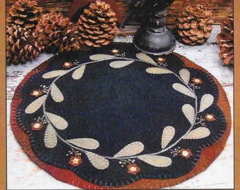 Wool Applique Pattern, Redware Flower Table Mat, Primitive Decor, Wool Applique, Flower Mat, Candle Mat, Primitive Gatherings PATTERN ONLY