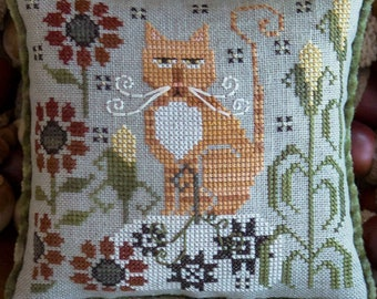 Counted Cross Stitch Pattern, Clementine, Fall Decor, Orange Tabby, Cat, Corn, Flowers, Cat Whiskers, Plum Street Samplers, PATTERN ONLY