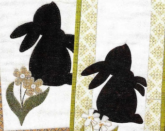 Wool Applique Pattern, Little Bunny, Wool Applique Kit, Easter Bunny, Rabbit, Easter Eggs, Mini Wall Hanging, Spring Decor, PATTERN & KIT