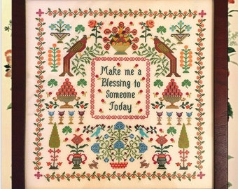 Counted Cross Stitch Pattern, Make Me A Blessing, Garden Decor, Birds, Flowers, Sampler, Monticello Stitches, PATTERN ONLY