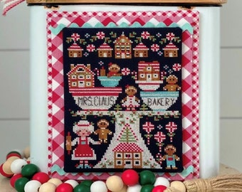 Counted Cross Stitch Pattern, Mrs Claus Bakery, Christmas Decor, Gingerbread Houses, Stitching Housewives, PATTERN ONLY