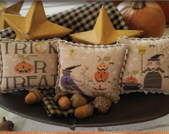 Counted Cross Stitch Pattern, Jack O Lantern Jubilee, Halloween Decor, Witches, Pumpkins, Crows, Brenda Gervais, PATTERN ONLY