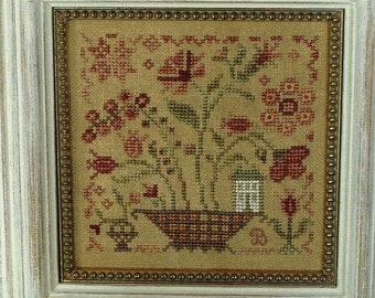 Counted Cross Stitch Pattern, Fairy Garden, Flower Basket, Primitive Decor, Fairy House, Garden Decor, Blackbird Designs, PATTERN ONLY