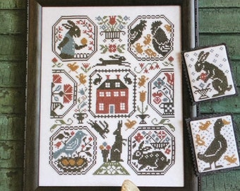Counted Cross Stitch, Rabbit Run, Cross Stitch Patterns, Rabbits, Rooster, Chicken, Duck, Saltbox House, The Prairie Schooler,  PATTERN ONLY