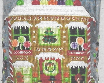 Counted Cross Stitch Pattern, Gingerbread Cottage Drum, Christmas, Santa Sleigh, Reindeer, Candy Canes, Praiseworthy Stitches, PATTERN ONLY