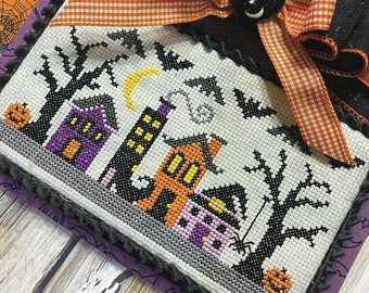 Counted Cross Stitch, Witchy Way, Halloween Decor, Pumpkins, Witches Boot, Lindsey Weight, Primrose Cottage Stitches