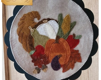 Wool Applique Pattern, A Round the Year, November, Wool Wallhanging, Cornucopia, Acorns, Pumpkin, Wool Mat, Sew Cherished, PATTERN ONLY