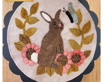 Wool Applique Pattern, A Round the Year, April, Wool Wallhanging, Bunny, Butterflies, Primitive, Wool Mat, Sew Cherished, PATTERN ONLY