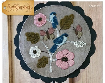 Wool Applique Pattern, A Round the Year, June, Wool Wallhanging, Bluebirds, Butterflies, Primitive, Wool Mat, Sew Cherished, PATTERN ONLY