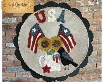 Wool Applique Pattern, A Round the Year, July, Wool Wallhanging, Americana, 4th of July, Primitive, Wool Mat, Sew Cherished, PATTERN ONLY